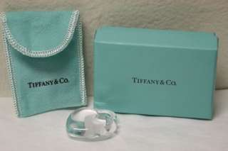 TIFFANY & CO Crystal Heart Ornament w/ Original Pouch & Box Lovely