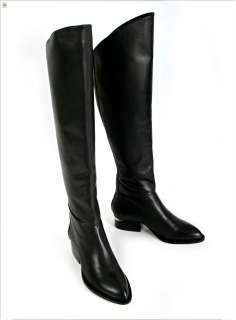 Lady Fashion Genuine Leather Zip Back Low Heel Over the Knee Tall