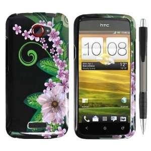 Black Green Pink Flower Design Protector Hard Cover Case