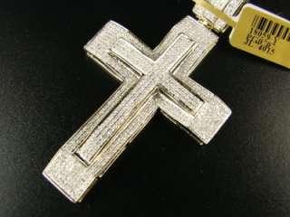 MENS 10K YELLOW GOLD DUAL VS PAVE DIAMOND CROSS 3.0 CT