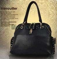 2011 Zipper & Lock Faux Leather Hobo Shoulder Handbag Totes Bag