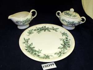 VTG Canonsburg Lyric Green Roses Pattern China Porcelain Cream, Sugar