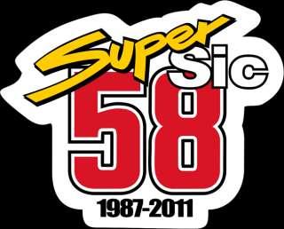 6cm breit Aufkleber Marco Simoncelli SUPER SIC 58 Startnummer Decal