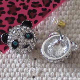 The listing is for 1pair NWT BETSEY JOHNSON SILVER TONE RHINESTONE