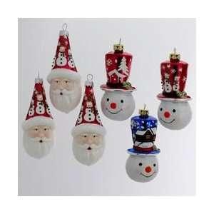 Club Pack of 36 Noble Gems Santa & Snowmen Head Glass Christmas