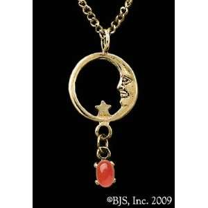 Moon Star Necklace, 14k Yellow Gold, Carnelian Agate set