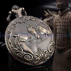 Ancient China  Terra Cotta Warriors Horse Pocket Watch