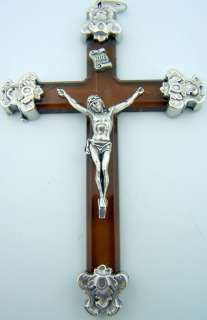 Silver Caps Pectoral Crucifix Cross Lucite Jesus Christ Brown