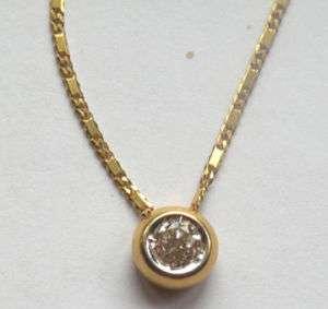 LADIES 18K YELLOW GOLD DIAMOND SOLITAIRE NECKLACE