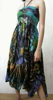 TIE DYED hippie halter dress, SMOCKED bust *S M