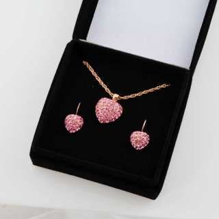 Rose Gold Ep Pave Pink Tourmaline Hearts Necklace & Earring Set
