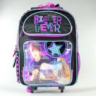 16 Justin Bieber Fever Checkered Rolling Backpack   Book Bag Girls
