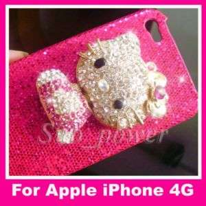 3D H Pink Hello Kitty Bling Case cover for iPhone 4G B2