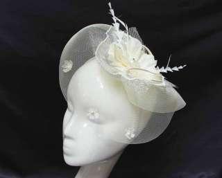 Bridal Feather Fascinator Hat,Faux Pearl Stamen , Headband Headdress