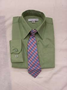 New BOY dress shirt Olive sage Green size 2T 3T 4T church birthday