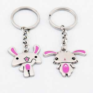Cute Pink Bunnies Rabbits Lover Couple Key Chain K92