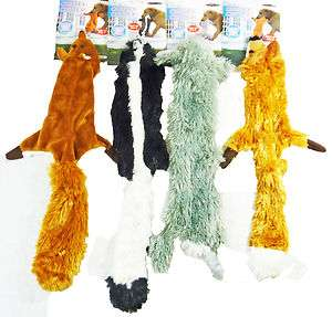 Furry Stuffing Free Dog Toys Rabbit, Skunk, Squirrel, and Fox