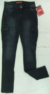 Womens Red Rivet Jeans Dark Blue Cargo Pkts Skinny SZ 9