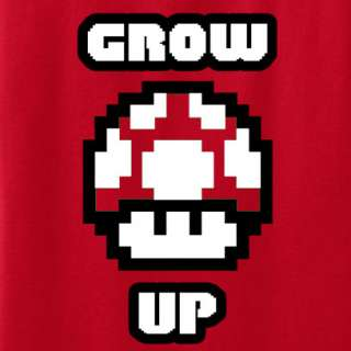 Red Mushroom Grow Up Super Mario Brothers T Shirt Funny