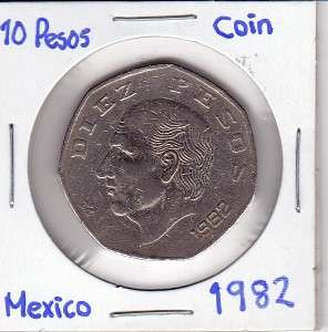 Mexico $ 10 Pesos Coin 1982 Brilliant Coin Paper Money