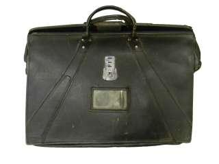 Vintage 50s Navigators Pilot Bag Briefcase Black Leather Genuine