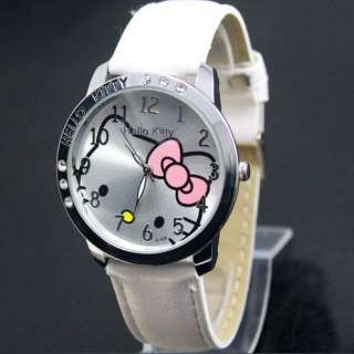 Fashion cute Lovely helloKitty 6 Crystal Girls Quartz Wrist Watch KT
