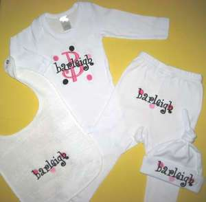 Personalized Baby HAT BIB ONESIE PANTS OUTFIT Gift Set