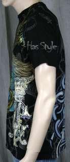 Christian Audigier Hardy Life Kills Skull Rose T Shirt