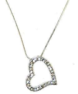 Romantic Valentine Gift Silver Rhinestone Crystal Heart Pendant Choker
