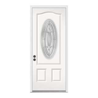 JELD WEN 36 In. X 80 In. White Prehung Right Hand Inswing 3/4 Oval