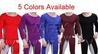 Spandex,New Mens Pants+T shirt Thermal Underwear Set 5Colors SzS/M/L