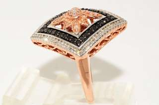 1000 .69CT ROUND CUT BLACK & WHITE DIAMOND RING SIZE 6.75