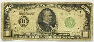 Thousand Dollar $1000 Bill Federal Reserve Bank New York Green Seal