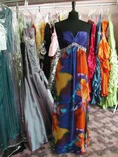 E4052 PURPLE Print gown dress prom pageant size 8 long FUN