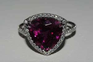PLATINUM 5.39 Natural TRIANGLE RUBY Designer DIAMOND RING