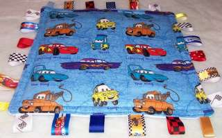 DISNEY CARS BLUE MINKY TAGGIE LOVEY RIBBON SECURITY BLANKET