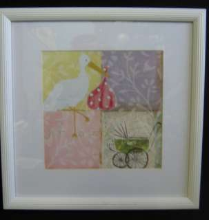 Stork Baby Carriage Framed Wall Hanging Picture