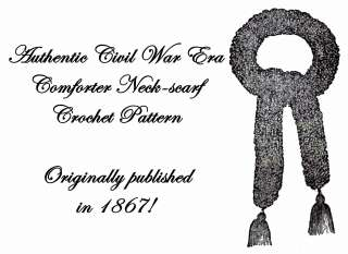 Scarf Pattern Crochet Civil War Victorian Cravat 1867