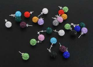 10MM Earrings Studs 1Pair Clay Disco Crystal Ball Bead Hip Hop 12Color