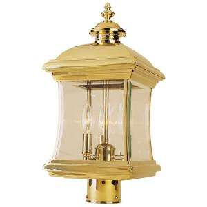 Hampton Bay 3 Light Outdoor Polished Brass Post Lantern  DISCONTINUED
