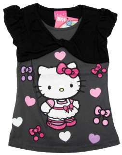 HELLO KITTY Girls Shirt & Shrug White, Gray, or Pink NWT