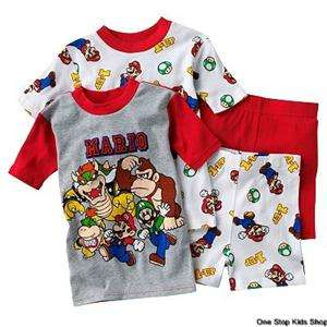 SUPER MARIO BROTHERS Boys 6 8 10 12 Pjs Set PAJAMAS Shirt Shorts