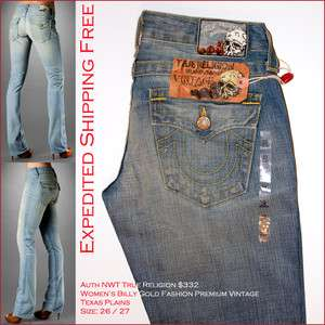 sz 26 27 Auth NWT $332 True Religion Womens Billy Gold Fashion