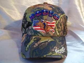 RODEO BALL CAP HAT IN CAMO NWT OSFM BULL RIDING
