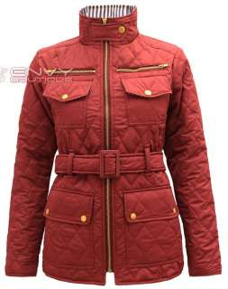 NEW WOMENS LADIES QUILTED PADDED BUTTON POCKET ZIP BELTED JACKET COAT