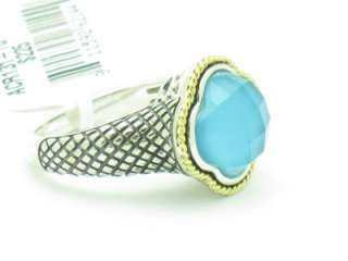 and Sterling Silver Doublet Turquoise Clover Ring ACR131 TQ