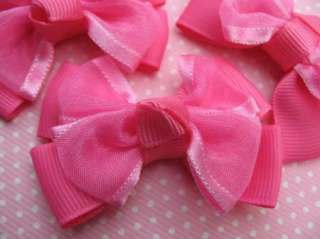 20 Grosgrain Organza Ribbon Bow Hair Hot Pink R073