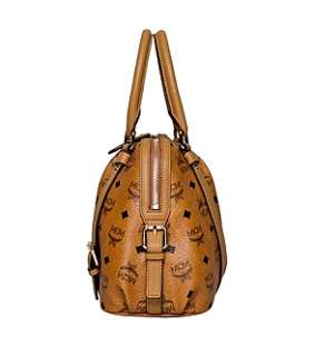 NWT MCM Boston Bag VISETOS Vintage Cognac