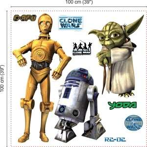 WANDTATTOO STAR WARS CLONE YODA R2D2 TATOO STICKER 1X1