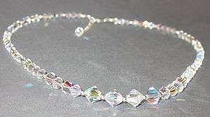 SWAROVSKI CRYSTAL ELEMENTS Sterling Silver Graduated Necklace CLEAR AB